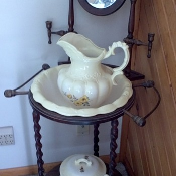 Antique wash stand with pitcher and basin