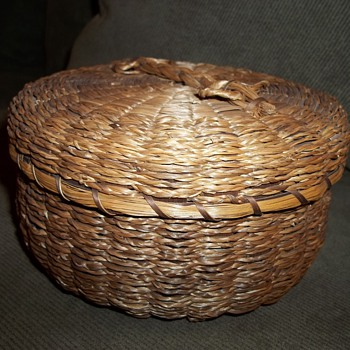 Passamaquoddy sewing basket (accessories of scissor cases, string holder and pincushion in next photo)  - Native American