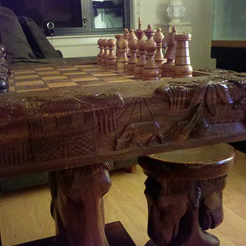 Asian? Antique Chess & Backgammon Table - Games
