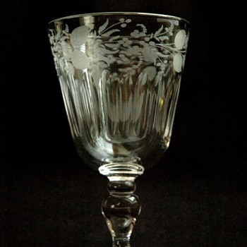 antique french engraved wine glass