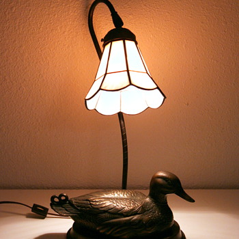 Bronze Mallard Duck Lamp wit Glass Shade - Vintage? - Lamps