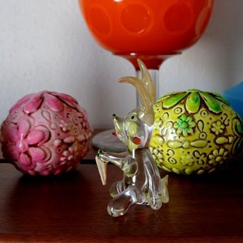 Blown glass mini rabbit - Art Glass