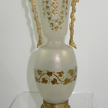 Loetz-type iridescent glass vase, engraved decoration, with ormolu mounts, ca. 1890