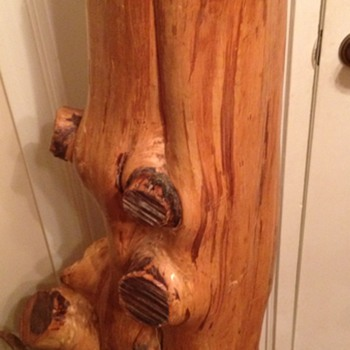 Tree trunk floor lamp - Folk Art