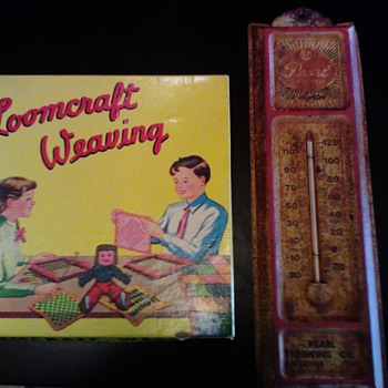 A 1948 loomcraft weaver complete set and an old pearl brewing thermometer how much are they?