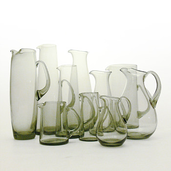 A multitude of gray jugs, Per Lütken (Holmegaard, from 1954 to 1958)