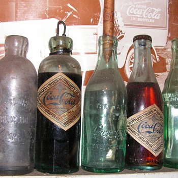 Full, antique Coca-Cola bottles (eg: Hutchinson) - Coca-Cola