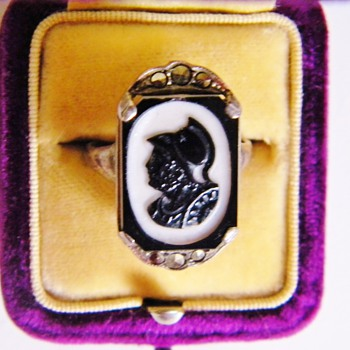 Antique Victorian Carved Silhouette Intaglio Agate Warrior Marcasite Sterling Ring  - Fine Jewelry