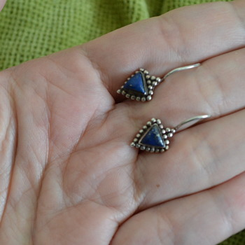 Silver and lapis lazuli hook earrings