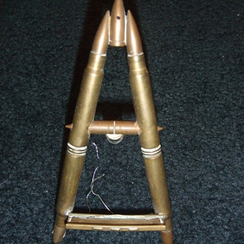 Trench art mini easel/ photograph stand made of bullets