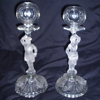 Pair Portieux Vallerysthal Mousquetaires French Lace Maker Whale Oil Lamps Scarce