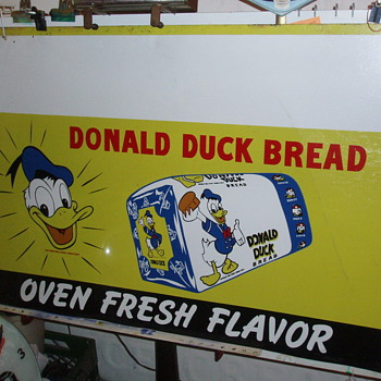 Donald Duck Bread Sign Tin 1940's - Signs
