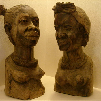 Primitive Wood Carved African (?) Sculptures - Folk Art