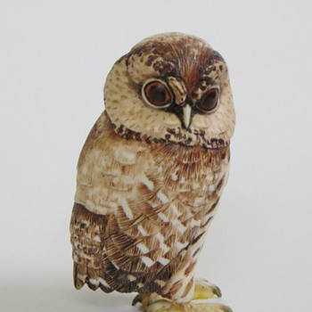 Japanese Carved Bone (?) Owl, Some Painting, Signed  - Asian