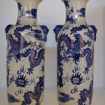 "A Pair of Blues and White "" Dragon"" Vases - Asian"