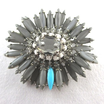 Vintage Schreiner Gray Ruffle Brooch - Costume Jewelry