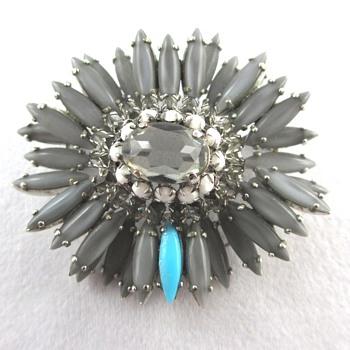 Vintage Schreiner Gray Ruffle Brooch - Costume Jewelry