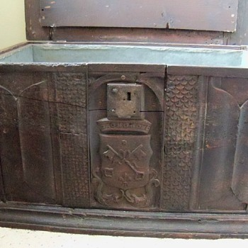 Religious chest lined with metal