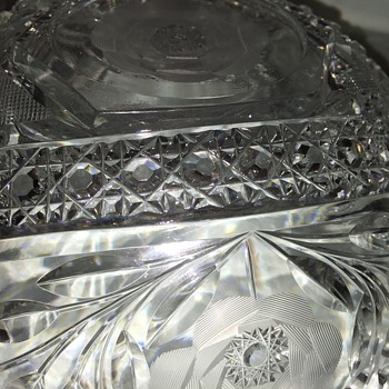 Rose Pattern Cut Glass Bowl - 9""