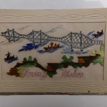 Vintage Embroidered Postcard  - Postcards