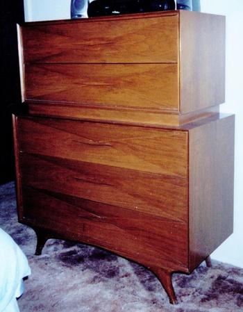 danish modern mid century solid black walnut 4 pc bedroom set needs