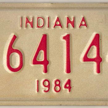 1984 - Motorcycle License Plate (Indiana)