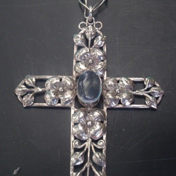 Arts & Crafts Moonstone Cross Pendant - Arts and Crafts