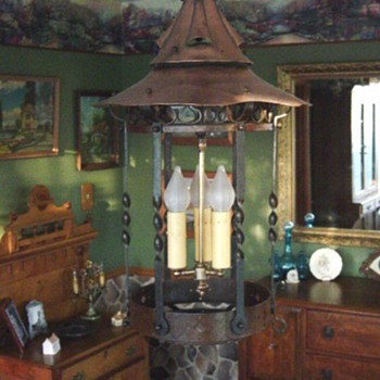 Arts &amp; Crafts Copper &amp; Steel light fixture - Arts and Crafts