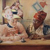 Original Hausding Watercolor~2 Women~Dated '38~on Board~Wonderful