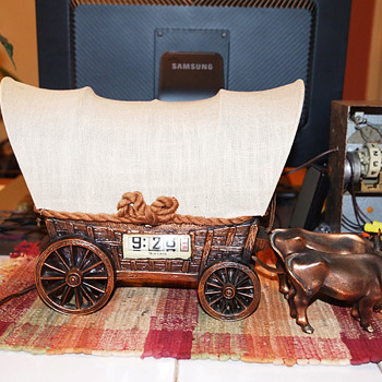 Ox Drawn Tele-Vision Conestoga Wagon TV Clock/Lamp Combination, 9/1950
