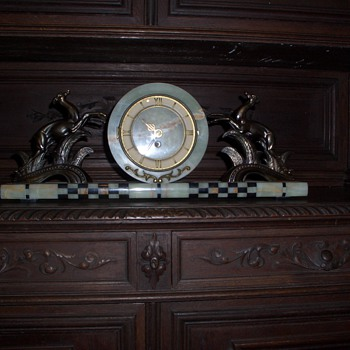 The marble clock with two goat - Clocks