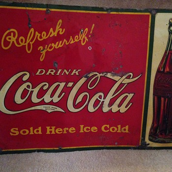 Late 1920's Coca Cola Tin Sign & 1960 Push Bar - Coca-Cola