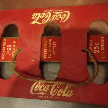 1950's  Coca Cola Masonite 6pack carrier  - Coca-Cola