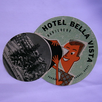 Vintage hotel labels or tags.