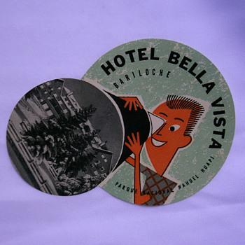 Vintage hotel labels or tags.