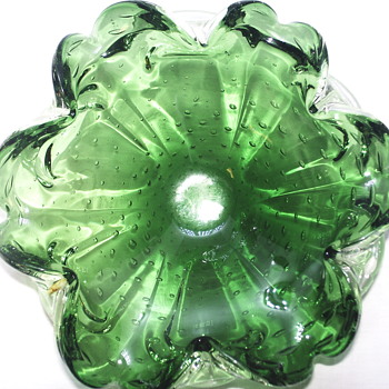 "Vintage Murano Glass Bullicante Emerald Green Bowl ""AKA Ashtray""Mid century"