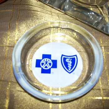 small glass ashtray Blue Cross Blue Shield