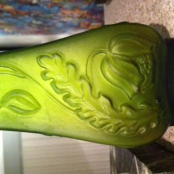 Green Art Nouveau Vase - Art Glass