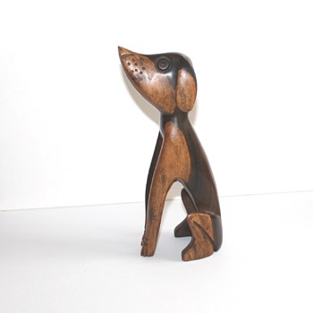 Mid century modern stylised carved dog