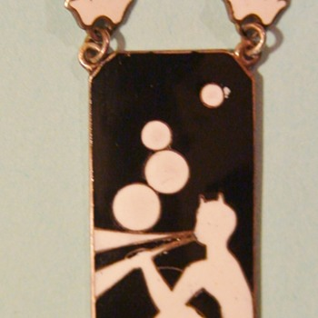 Art Deco Enamel and Sterling Silver Necklace Featuring Mythical Pan Character