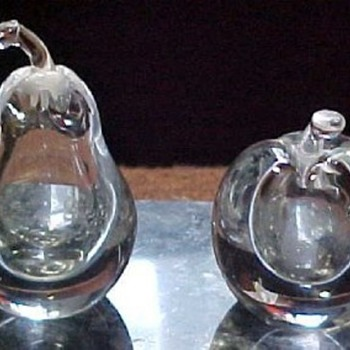 KOSTA BODA, V. LINDSTRAM SIGNED PEAR AND APPLE PERFUMES