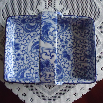 blue & white porcelain serving tray. - China and Dinnerware