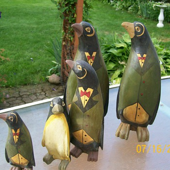 Hand Carved set of Penguins . Play who doesn't belong :-) and 2 are different  - Animals
