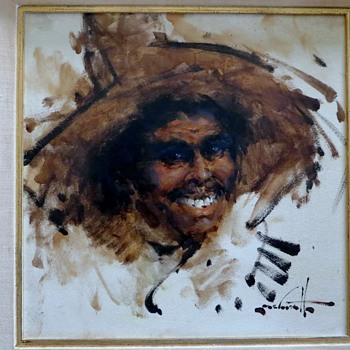 Oil Painting, Mexican Man~Signature a puzzle - Visual Art