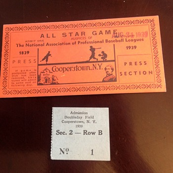 Super rare press box ticket from 1939. Cooperstown game - Baseball