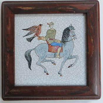 Pair of Tiles, Man on Horseback with Falcon, Dog & Deer, Old Oak Frames, Crackle - Pottery