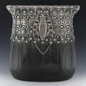 "Gustav Gurschner Silver & Bronze ""Beetle"" Sack Vase"