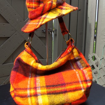 ORANGE PLAID HAT AND BAG