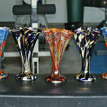 Kralik Star shaped fan vase Group - Art Glass