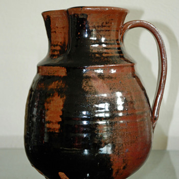 Glazed Redware Pitcher with mystery mark incised on bottom. - Art Pottery